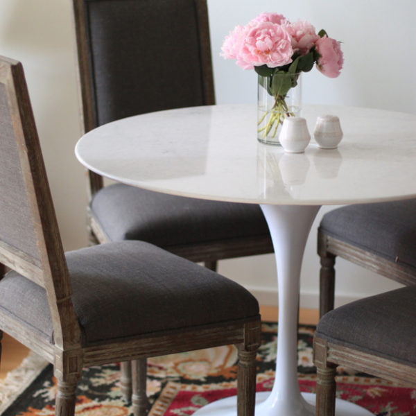 marble tulip table, rove concepts review, marble dining table, pink peonies, blair culwell, the fox and she