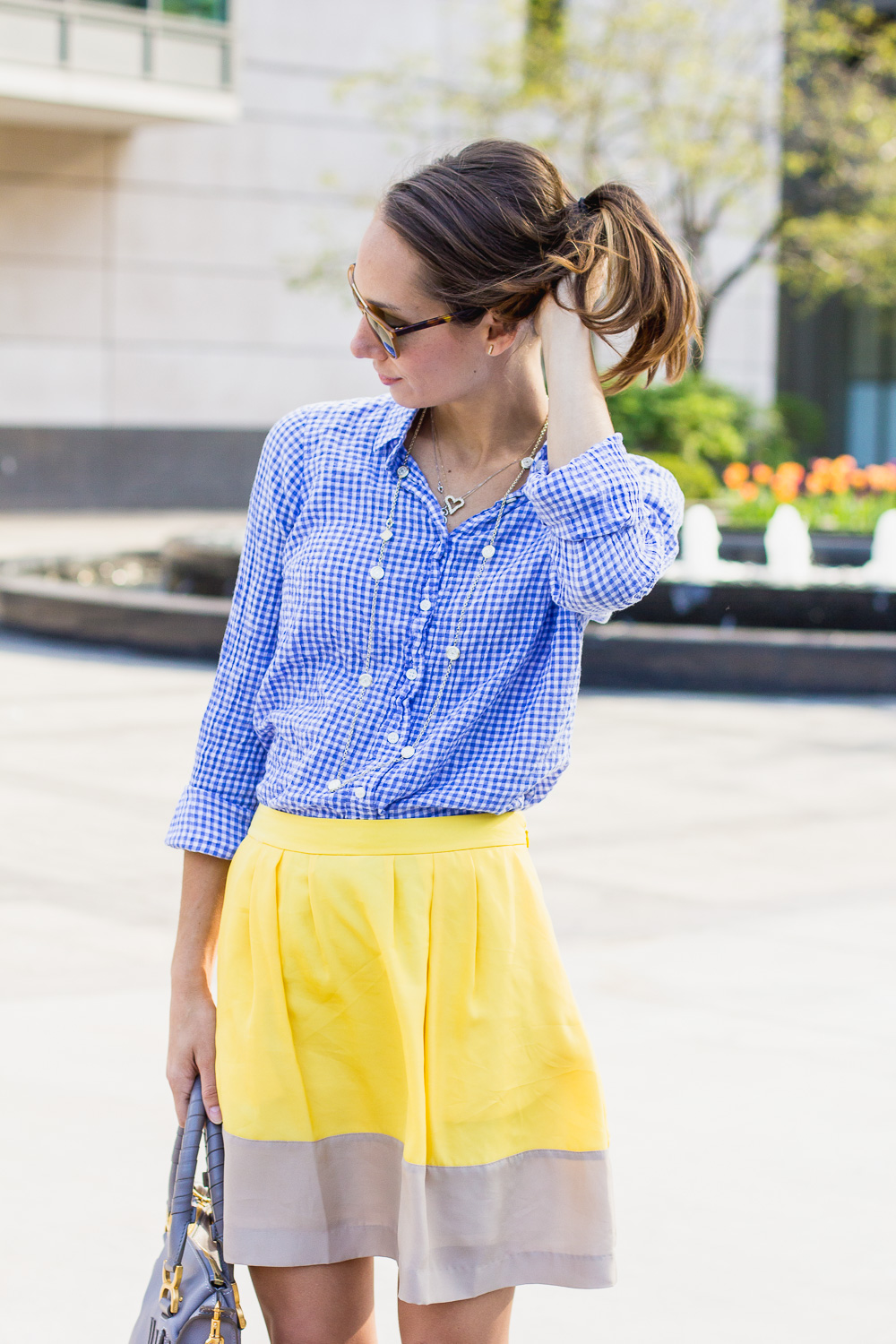 gingham shirt & a yellow skirt @thefoxandshe