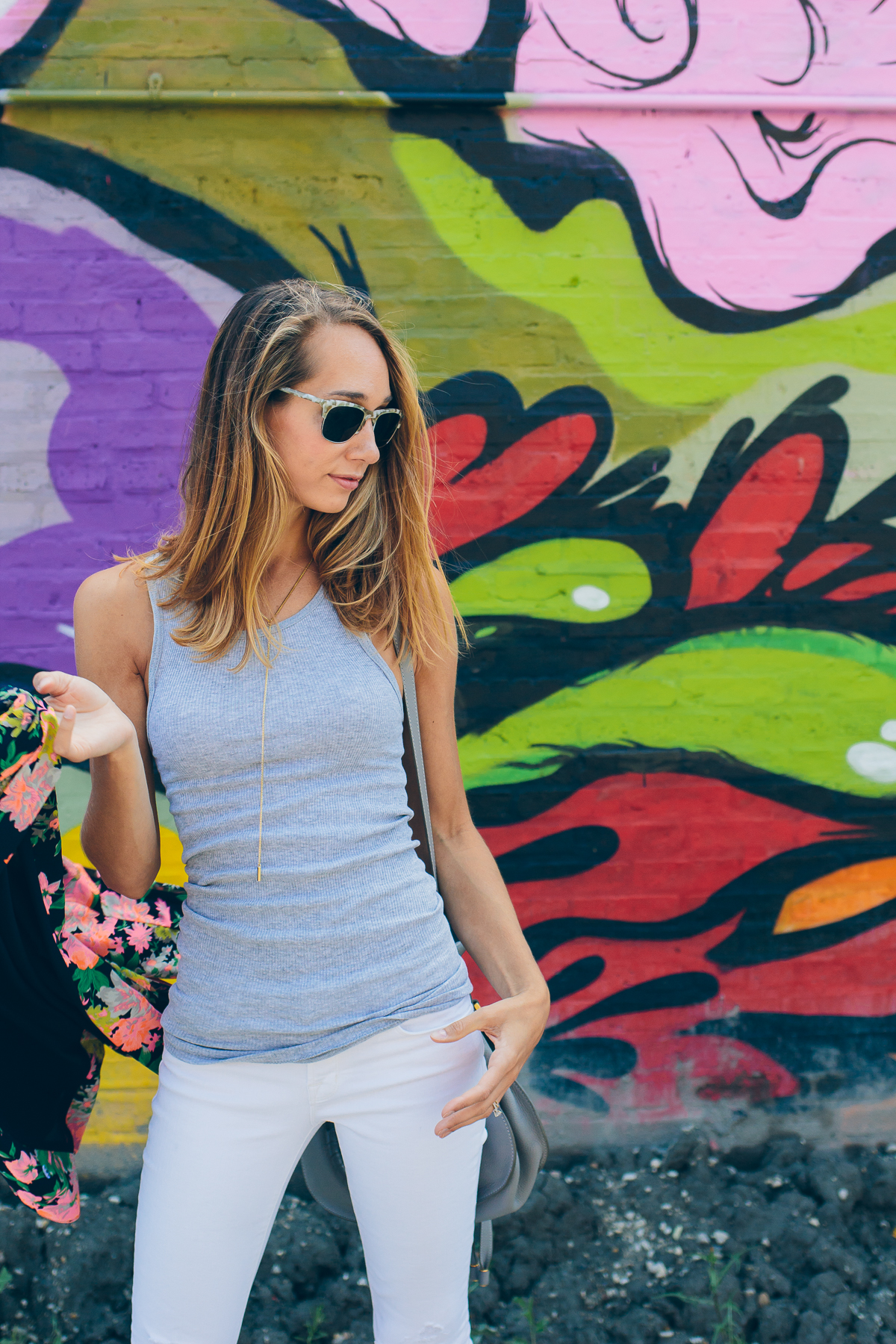 simple grey tank with a floral blazer #HanesOffDutyStyle — via @TheFoxandShe