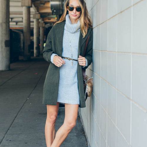 cowl neck sweater dress and cocoon coat — via @TheFoxandShe
