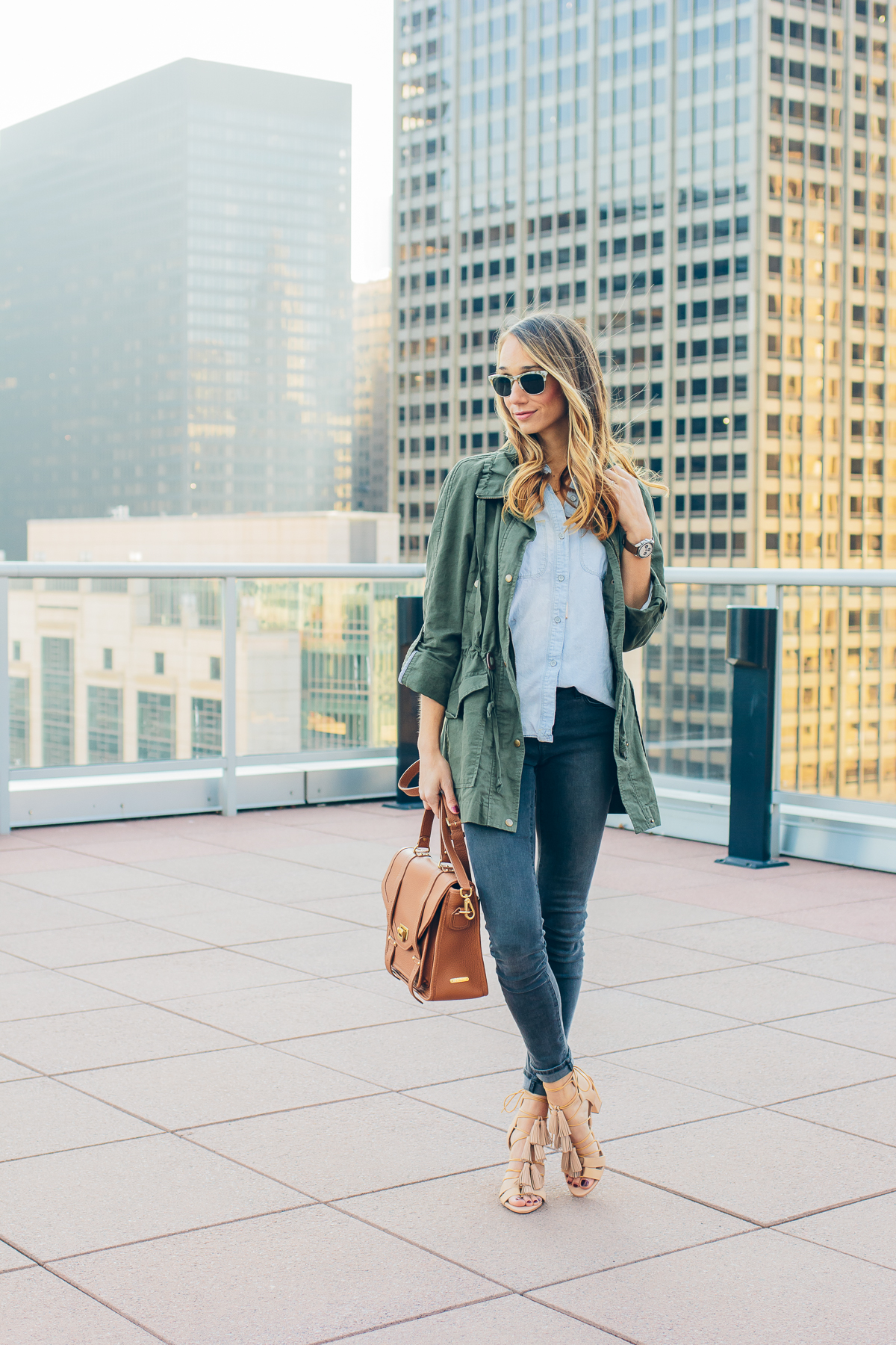 tassel sandals, military jacket, chambray, casual outfit — via @TheFoxandShe