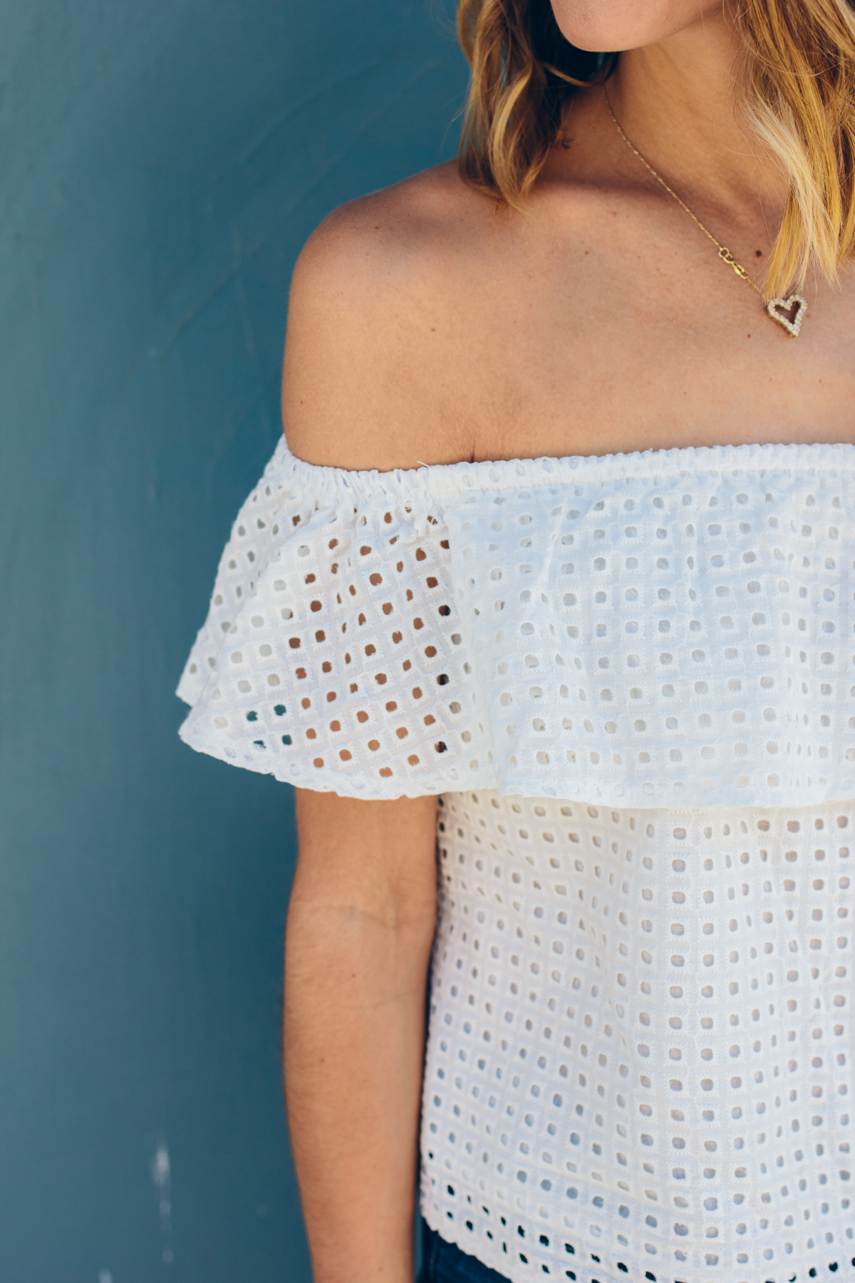 off the shoulder top, perforated top — via @TheFoxandShe
