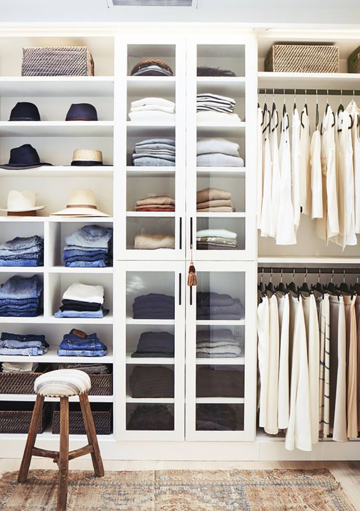 how to declutter your space: perfectly organized and color coded closet