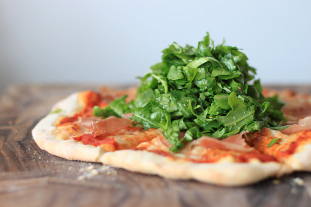 thin crust pizza, arugula and prosciutto pizza, pizza with a salad on top, simple recipes, blair culwell, fox and she