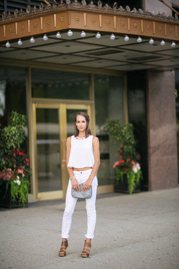 all white look, embellished crop top, crop top, topshop tank, women's fashion, blair culwell, the fox and she