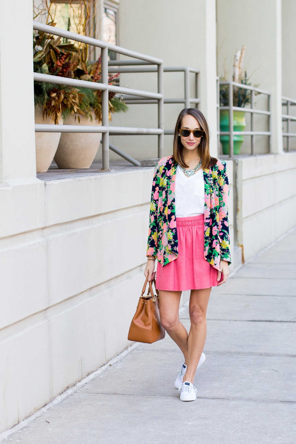 sperry seacoast sneakers, floral blazer, white sneakers, spring outfit, preppy outfit, the fox and she, blair culwell staky