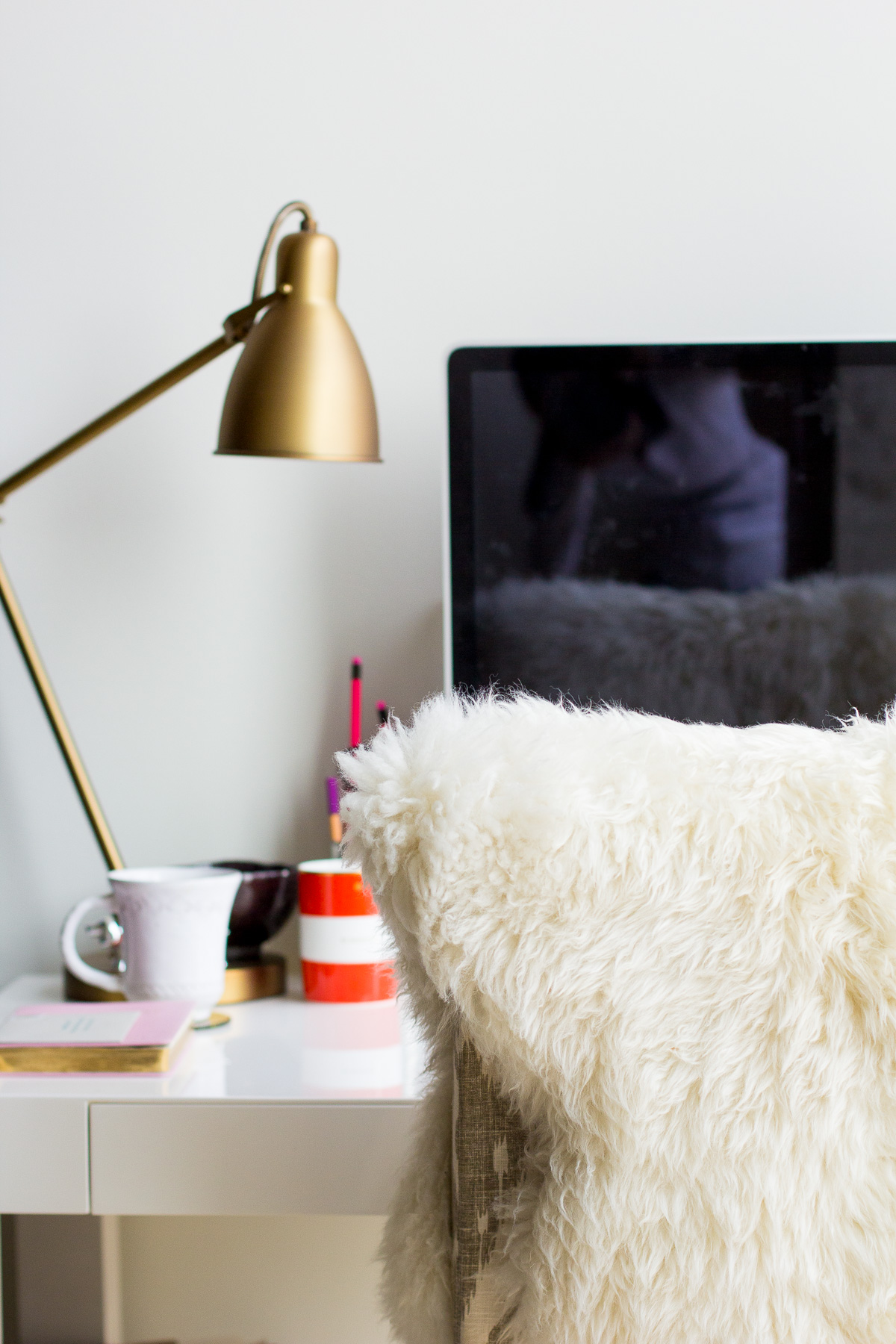 west elm parsons desk, office makeover, sheepskin rug, home office inspiration, the fox and she, blair culwell staky