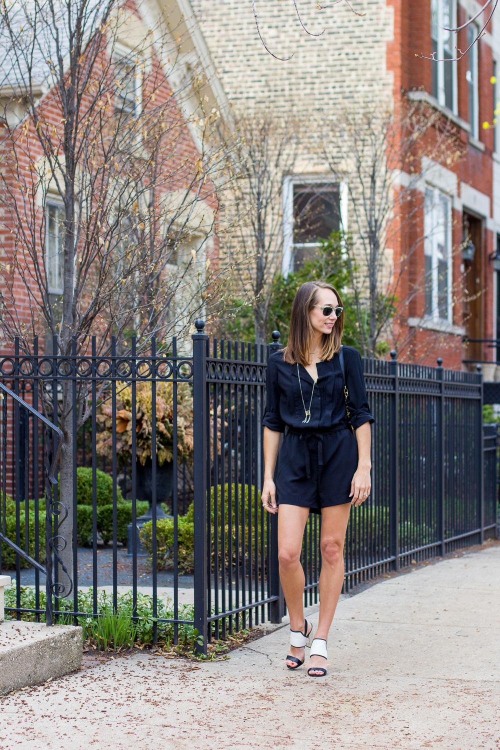 black romper, loft romper, jumpsuit, playsuit, the fox and she, blair staky