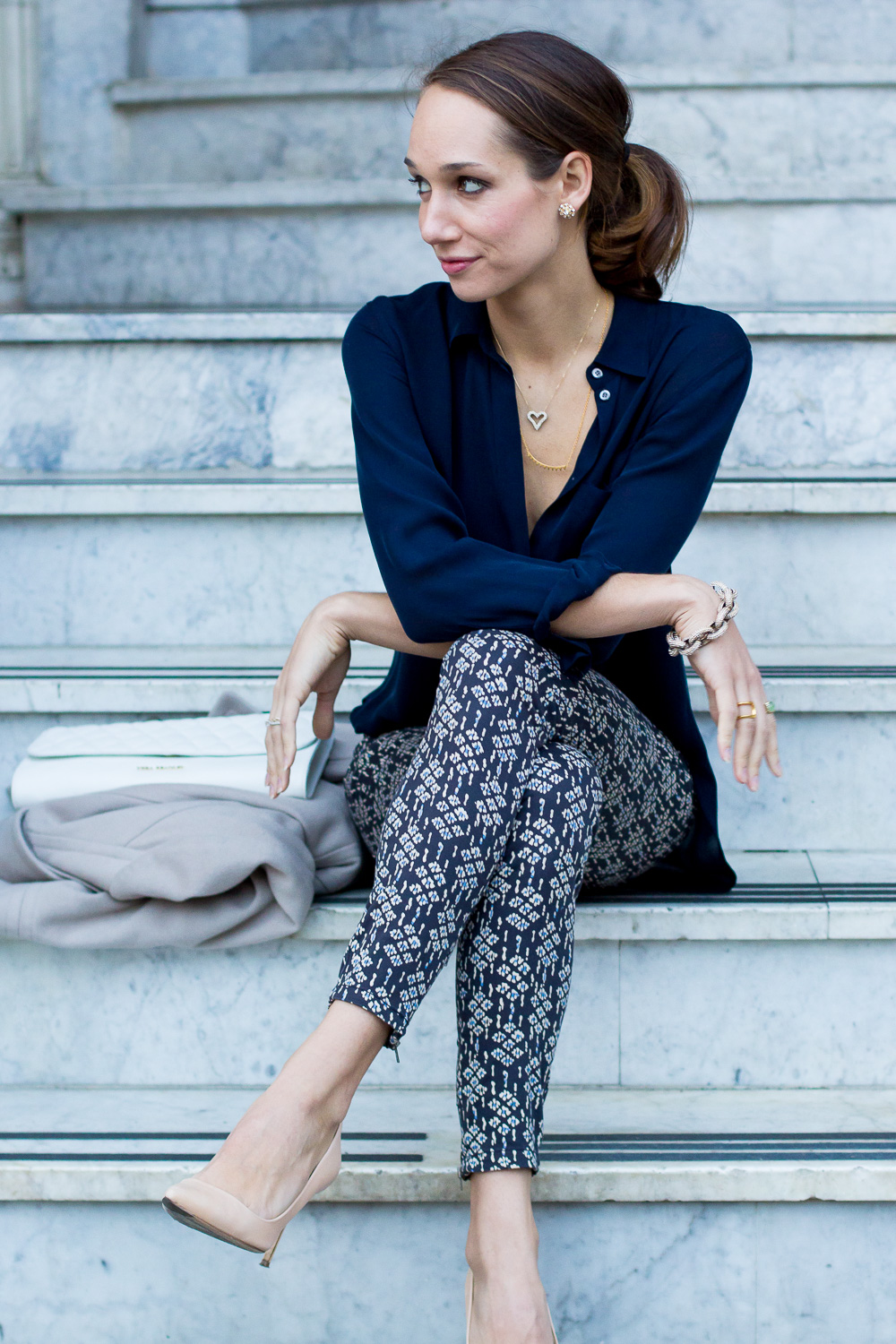 pilcro ankle jeans, vera bradley leather collection, silk blouse, quilted clutch, pilcro jeans, blair staky, the fox and she