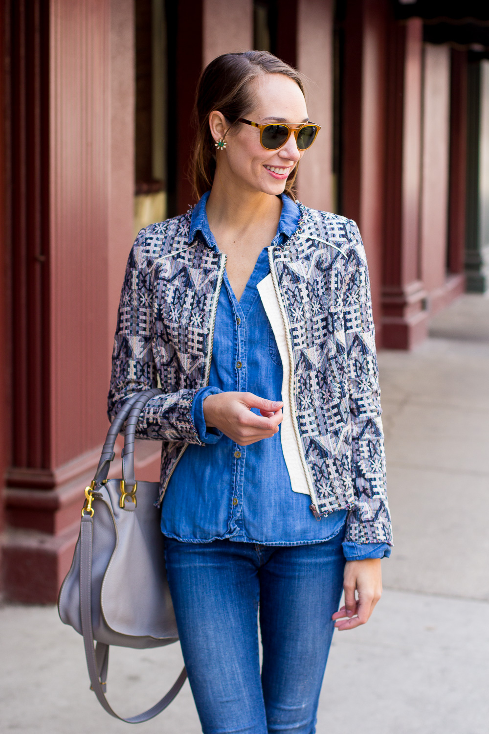 canadian tuxedo, denim on denim, chambray shirt, shibori jacket, blair staky, the fox and she