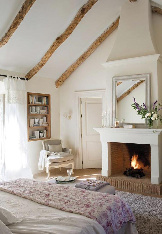 high ceilings with wood beams