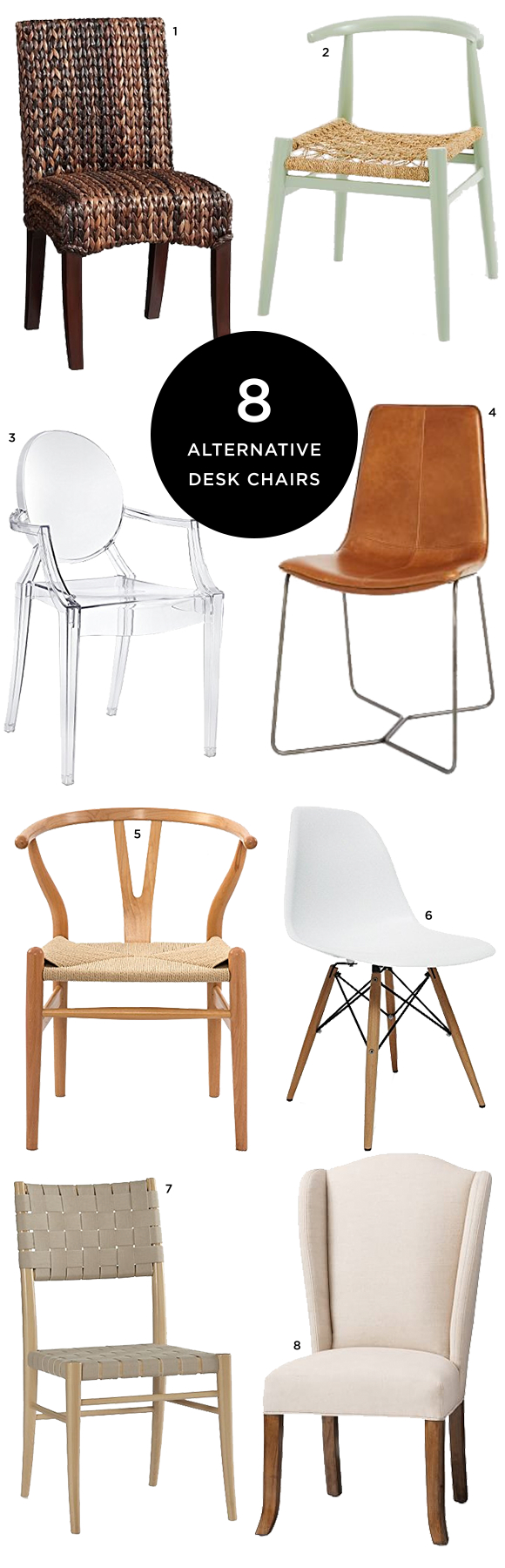 8 Alternative Desk Chairs for the Stylish Office —via @TheFoxandShe