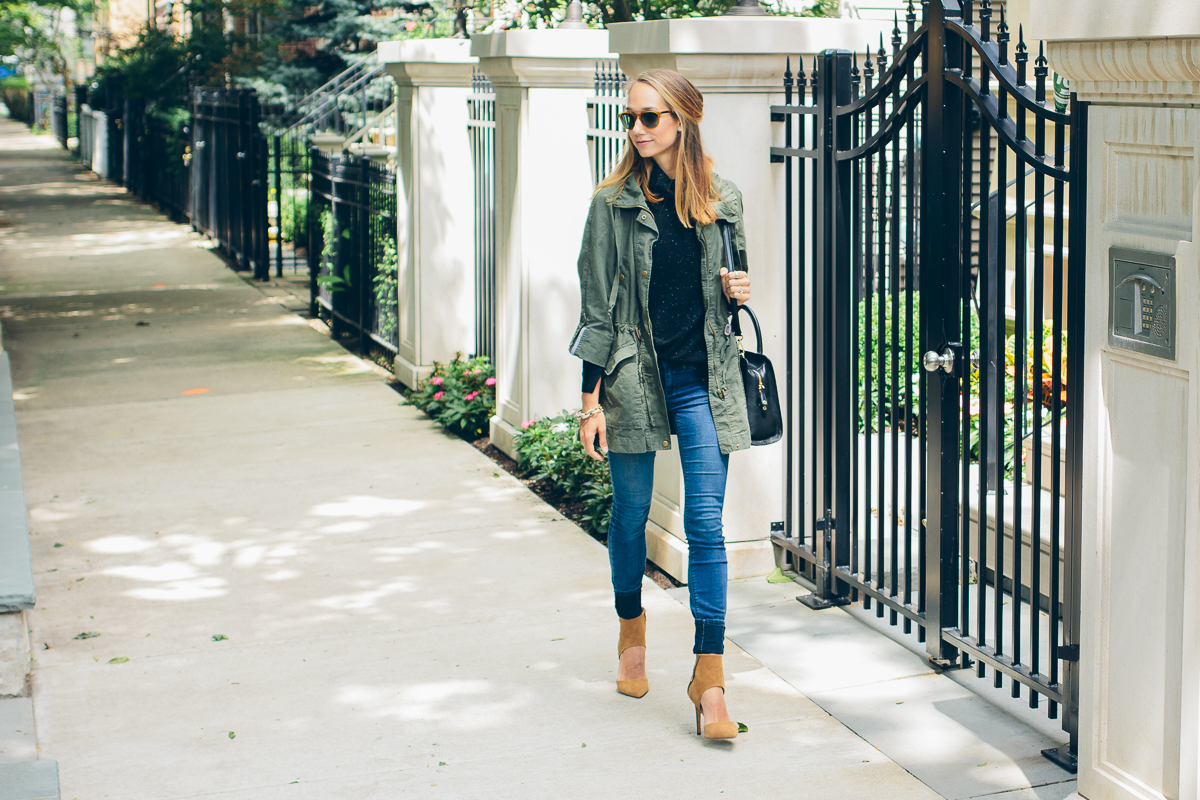 cashmere sweater, skinny jeans, military jacket and heels — via @TheFoxandShe