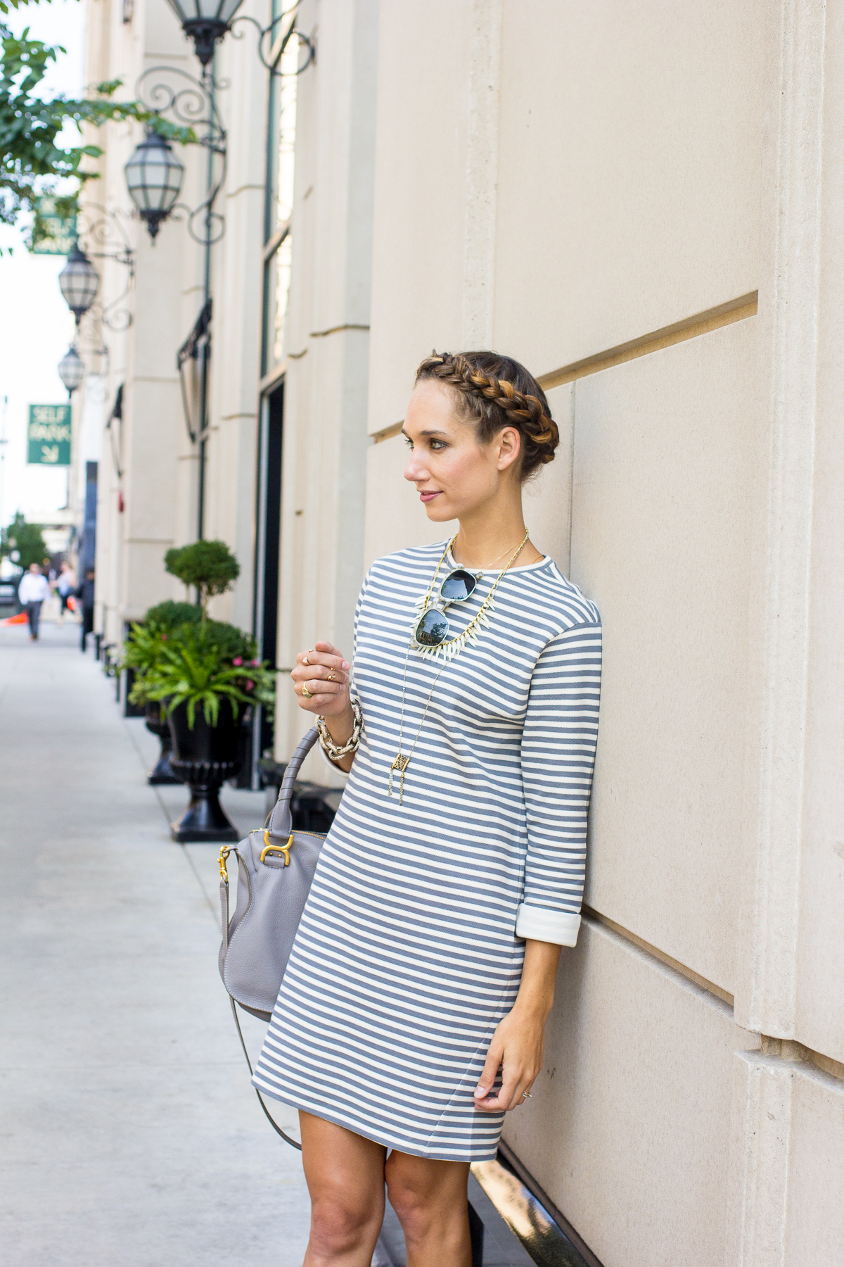 Striped Dress and a Braid Crown  — via @TheFoxandShe