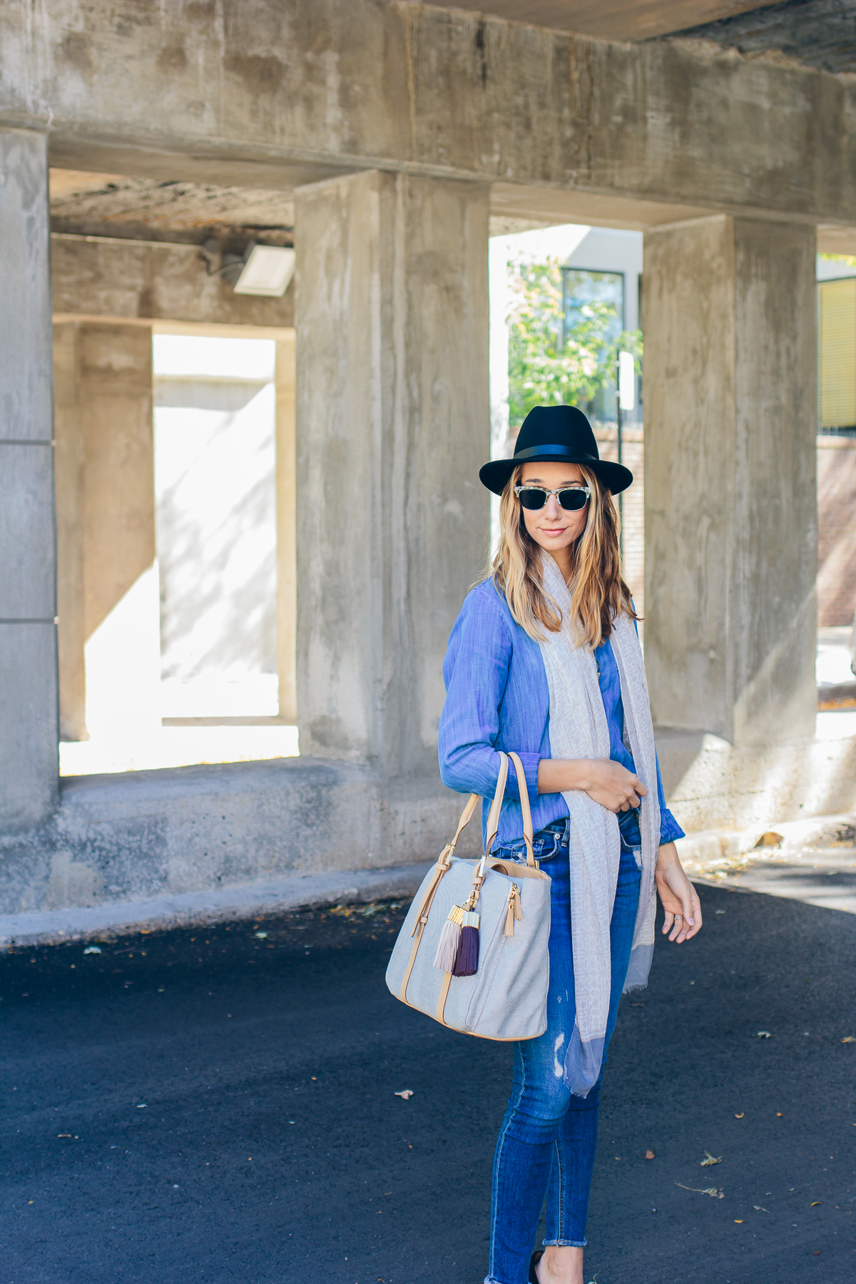 denim on denim outfit with hat — via @TheFoxandShe