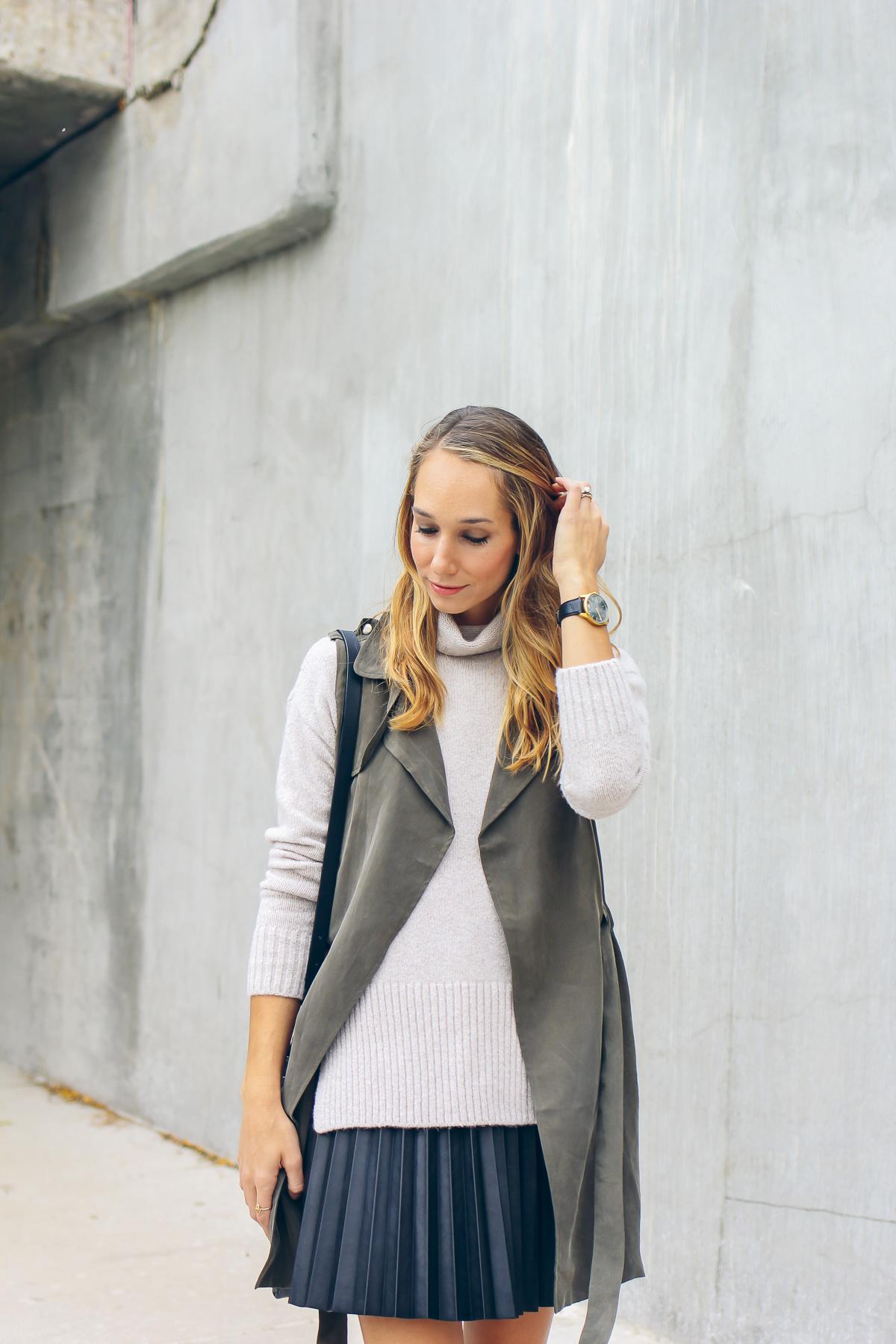 Larsson & Jennings watch, turtleneck sweater, trench vest —via @TheFoxandShe