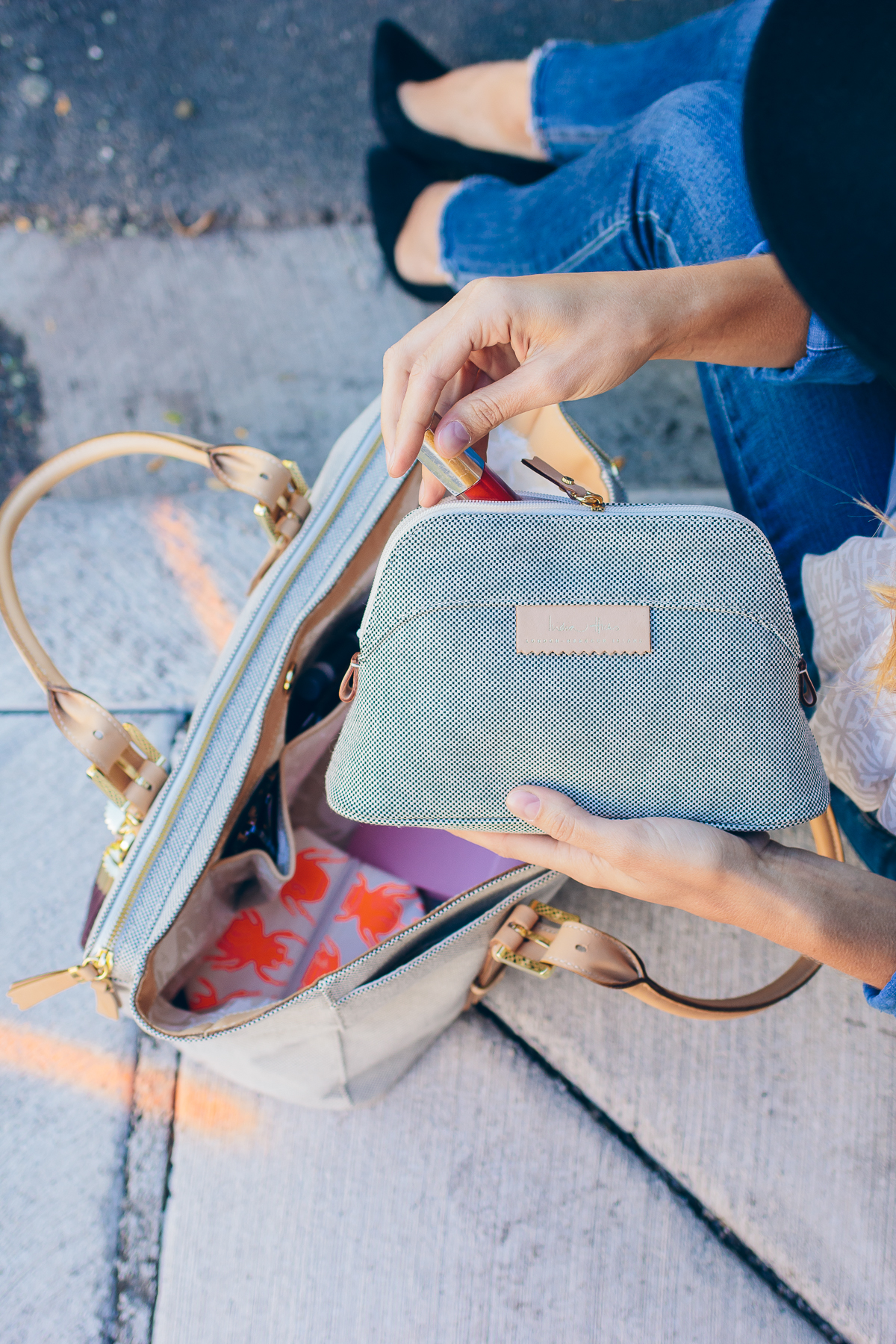 India Hicks makeup bag — via @TheFoxandShe