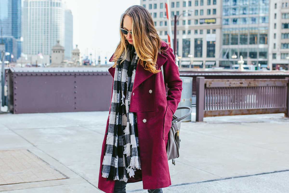 winter outfit inspiration, raspberry coat, designer purse, chicago style blogger, grey skinny jeans — via @TheFoxandShe