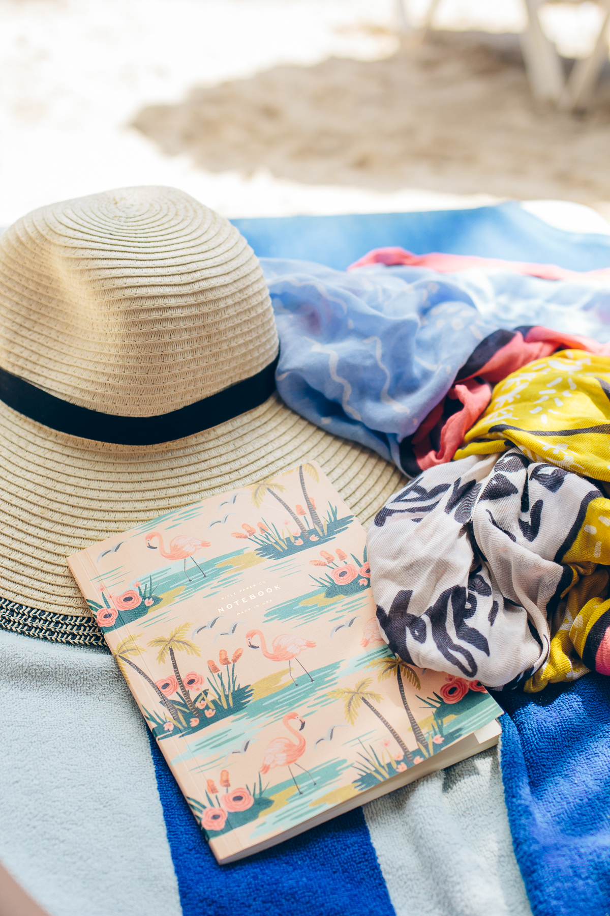 LOFT floppy hat, LOFT scarf, Rifle Paper Co journal — via @TheFoxandShe