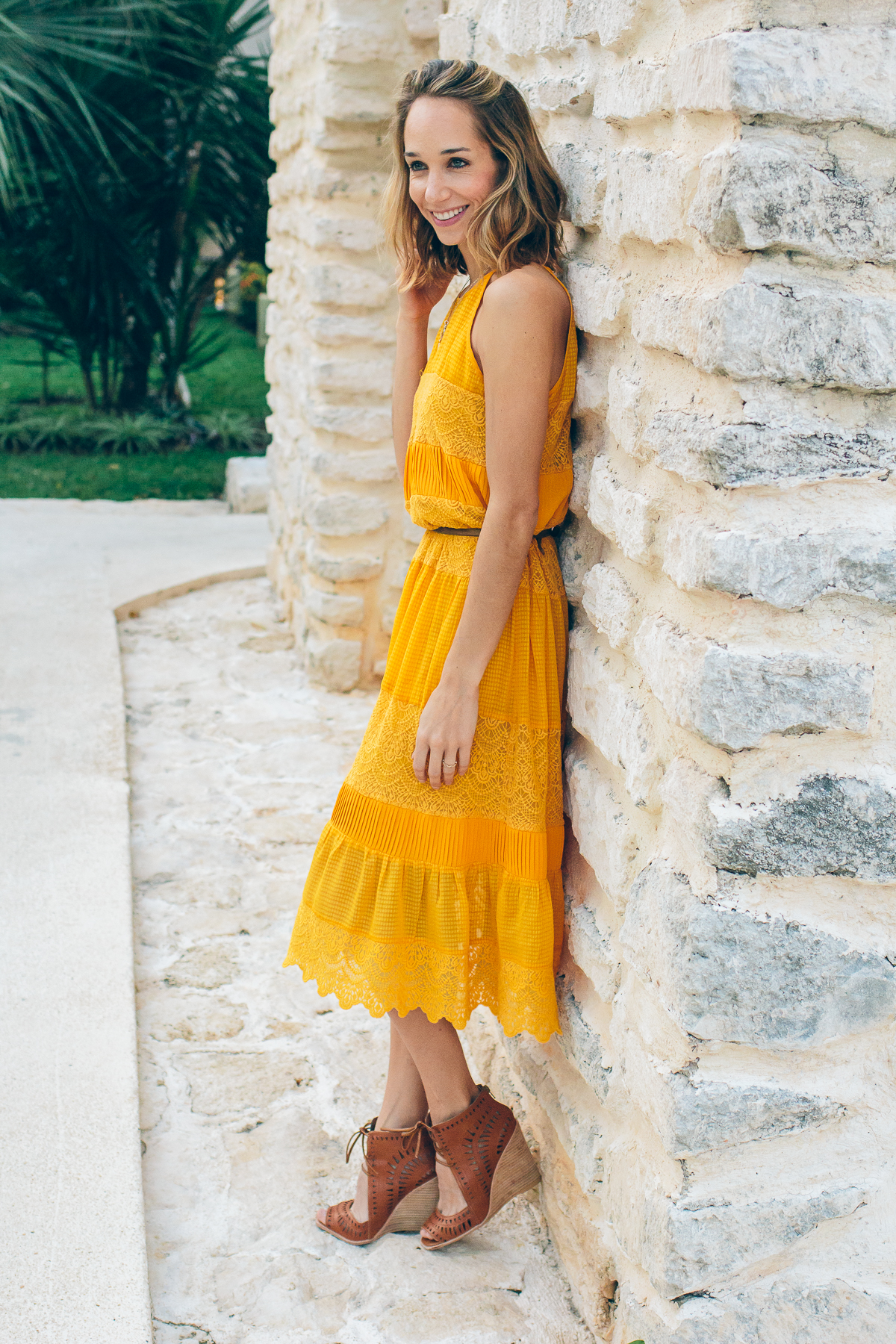 villanelle lace dress, anthropologie lace dress, yellow dress, spring outfit, blogger outfit, fashion blogger outfit —via @TheFoxandShe