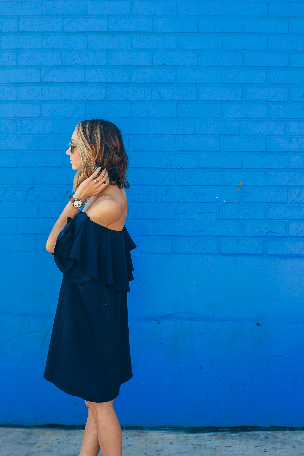 blue off the shoulder dress, MLM label dress, party dress, tassel shoes — via @TheFoxandShe