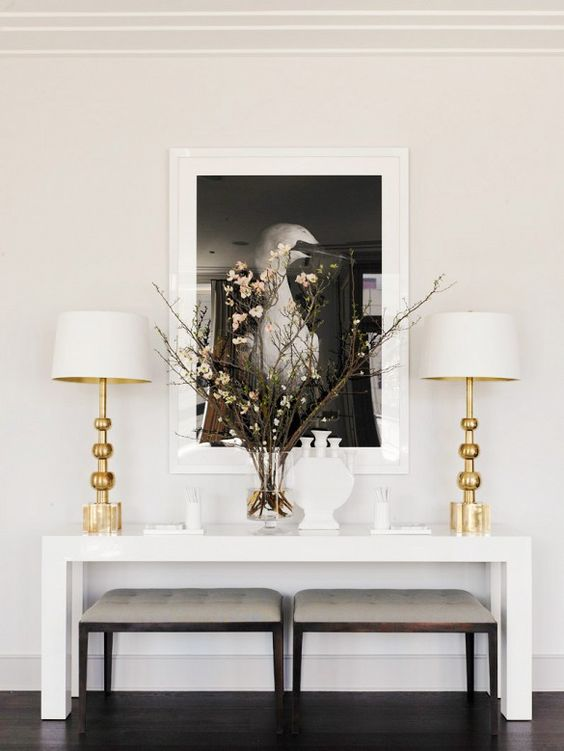 black, white and gold entryway — via @TheFoxandShe