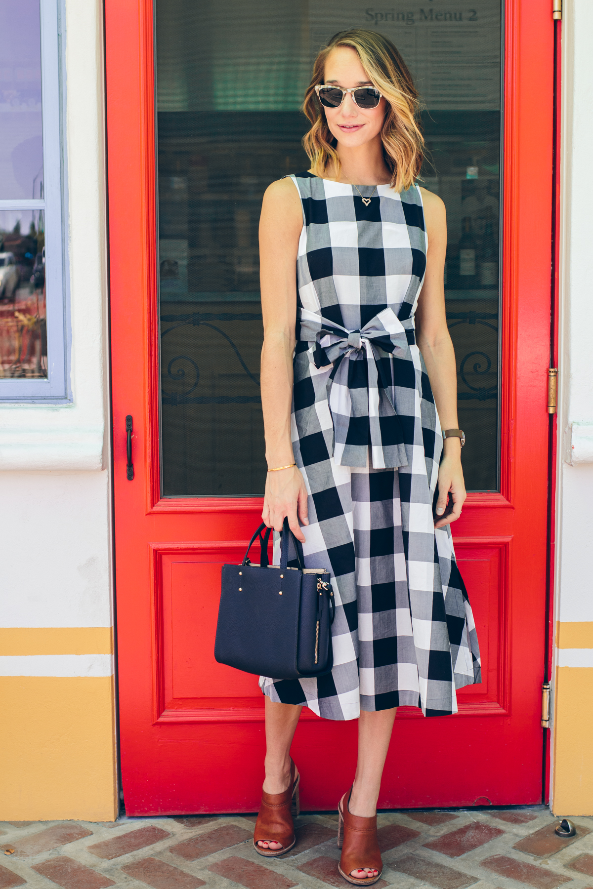 gingham wrap dress, mini bag, check dress — via @TheFoxandShe