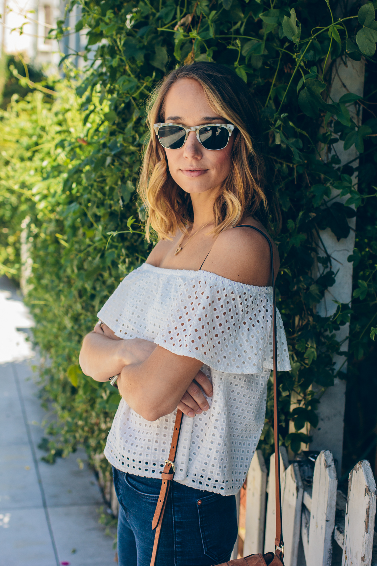 off the shoulder top, spring outfit —via @TheFoxandShe