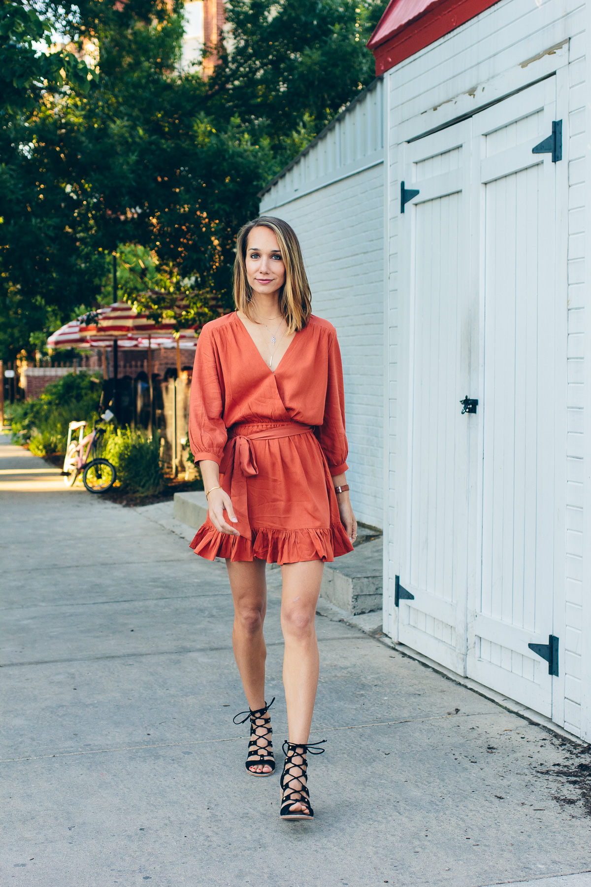ruffle dress in terracotta