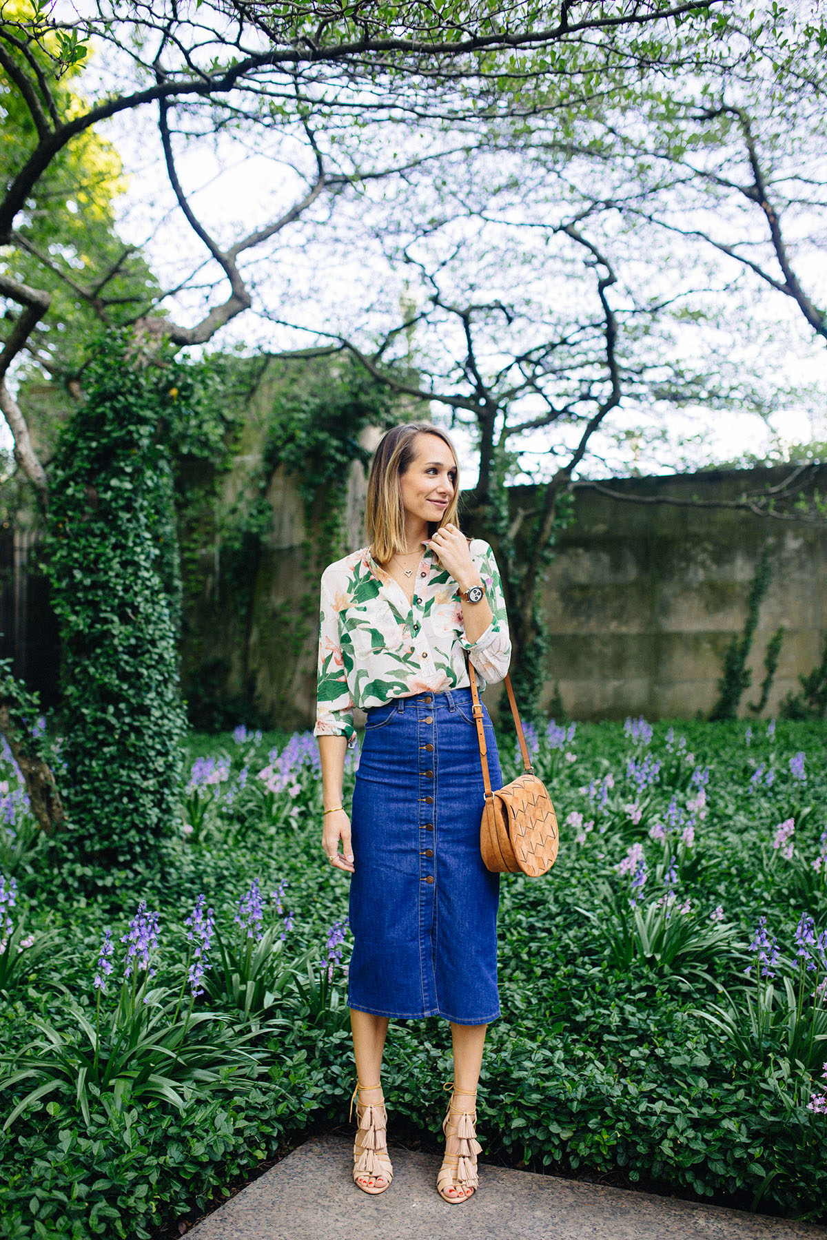floral shirt, denim midi skirt, tassel sandals