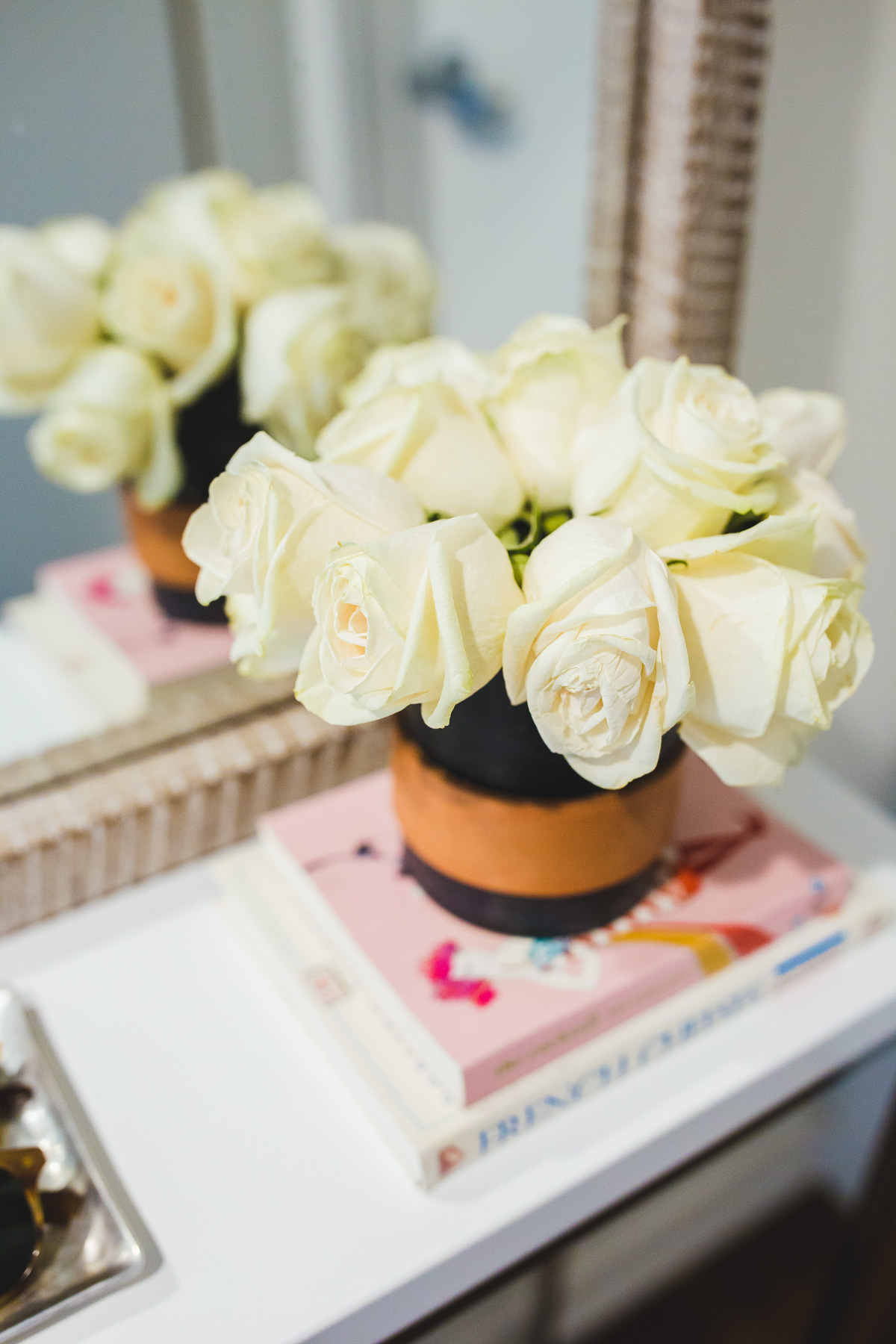 fresh roses in a marble vase