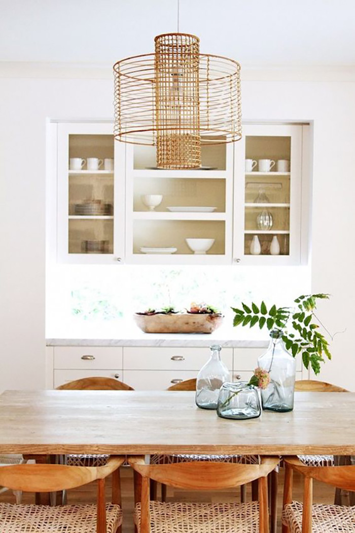 white wood dining area