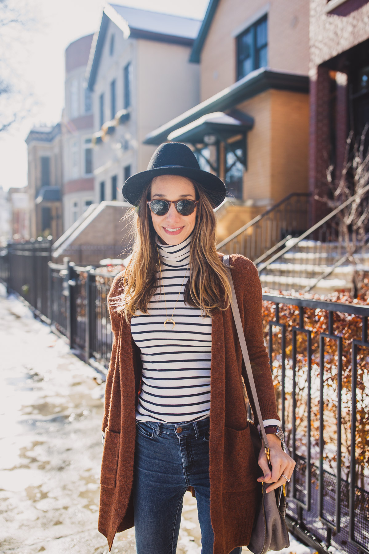 striped turtleneck outfit