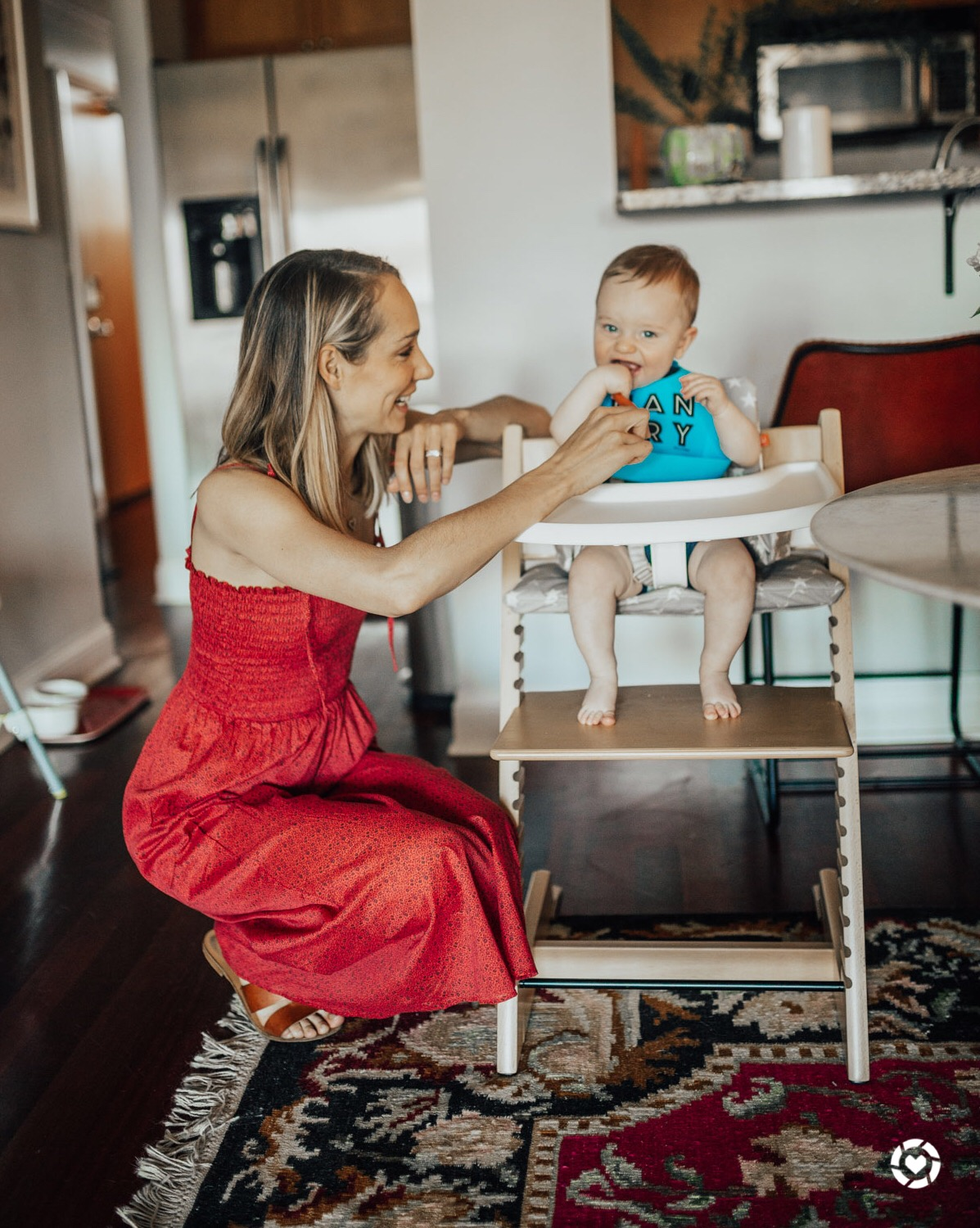 Red Dress | High Chair | Burp Cloth - The Fox & She