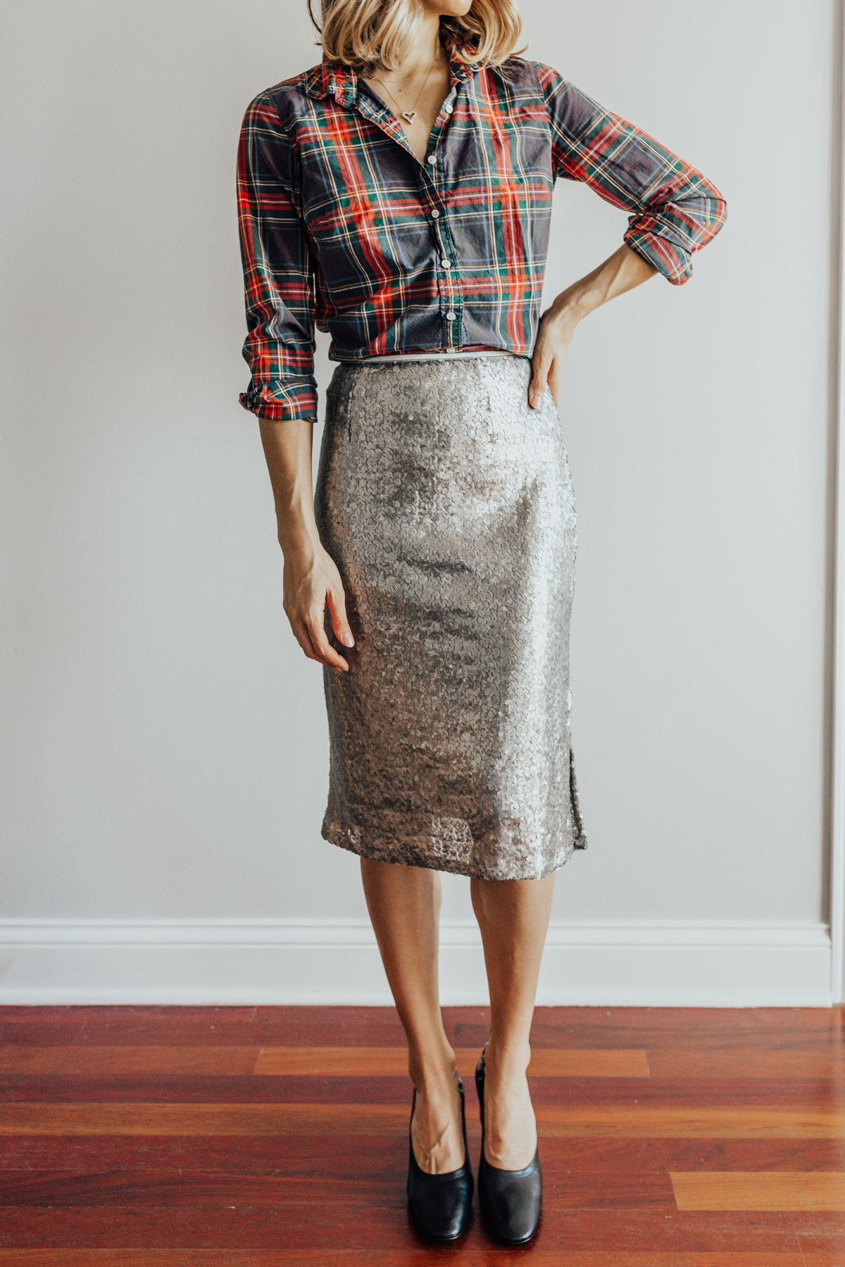 plaid shirt and sequin skirt