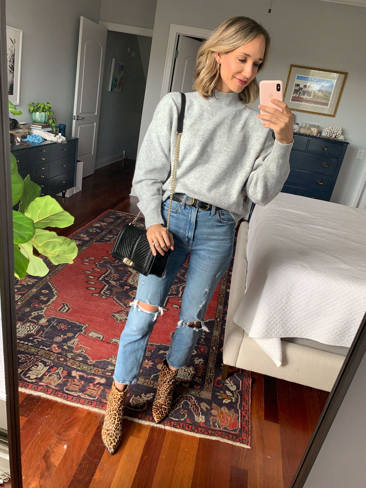 grey sweater outfit fall