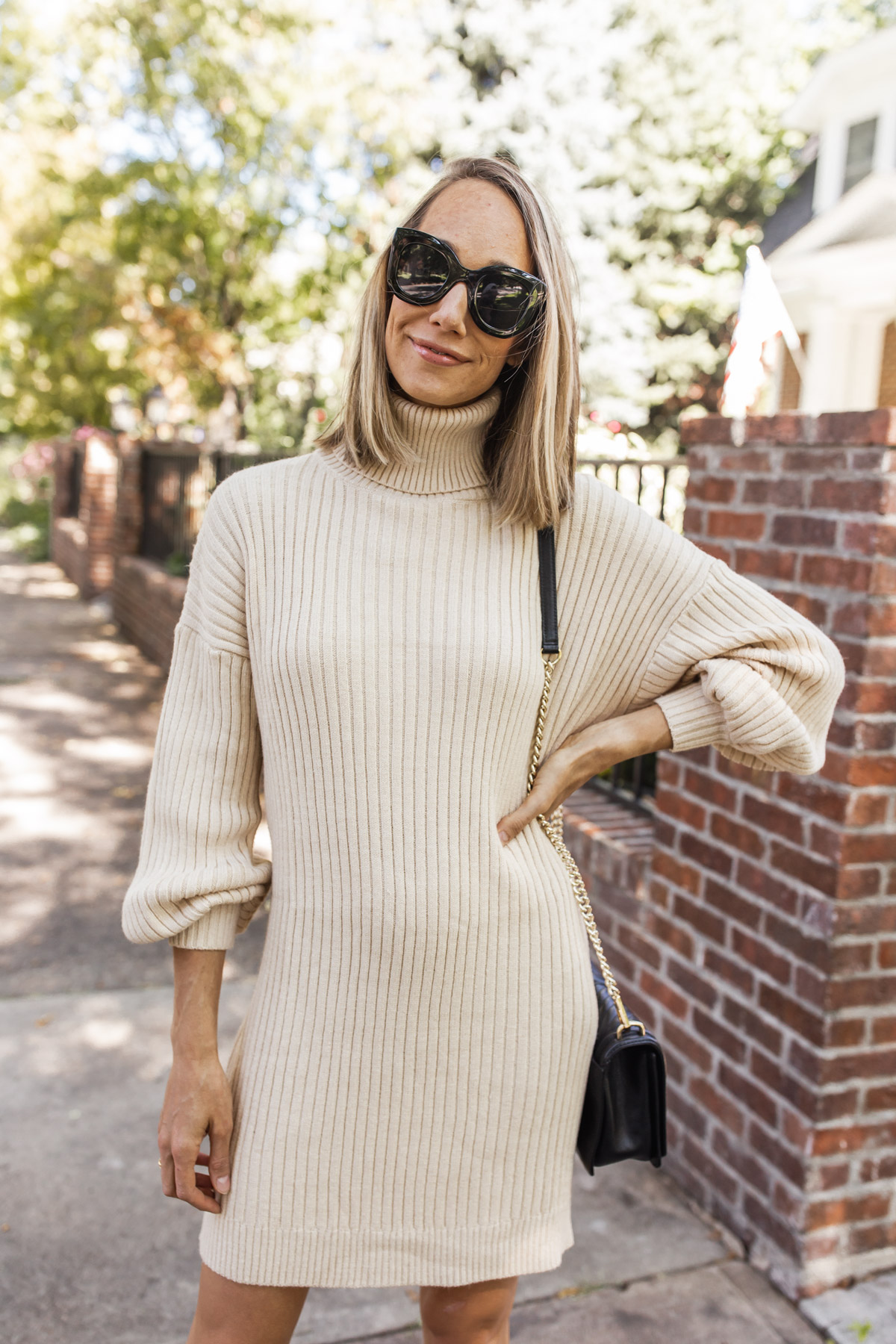 cozy sweater dress for fall
