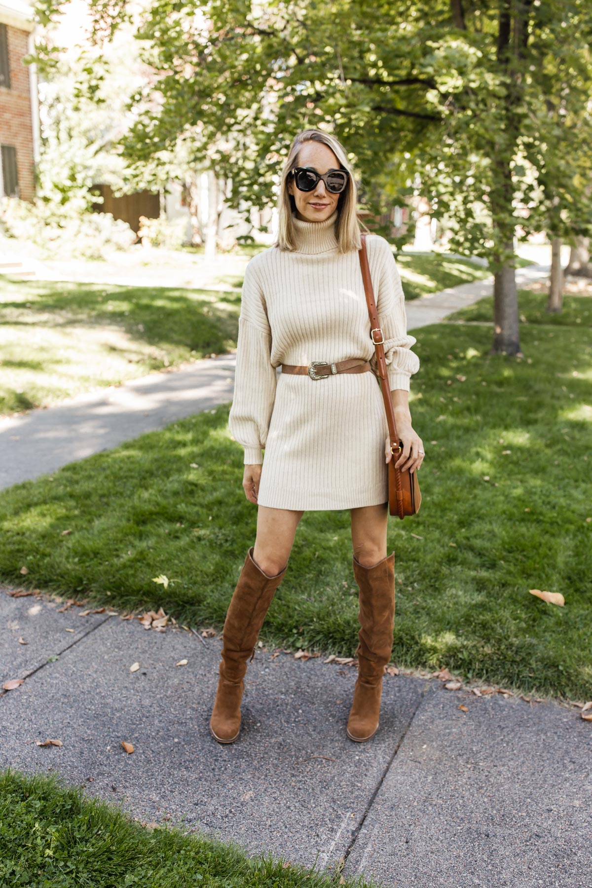 sweater dress outfit for fall