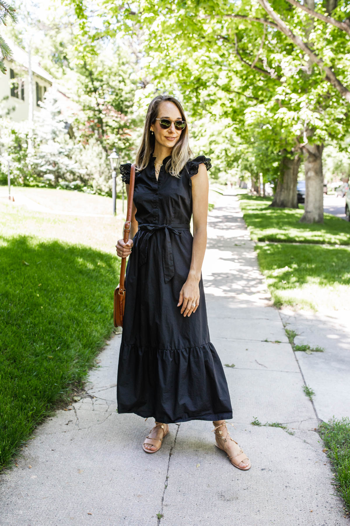 woman wearing black $40 Dresses for Summer